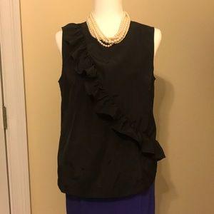 JCrew Black, Sleeveless, ruffle blouse